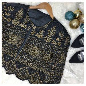 Fully Beaded Holiday Bolero Silk Jacket. Size Sm